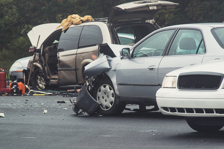 car accident at an intersection with injuries
